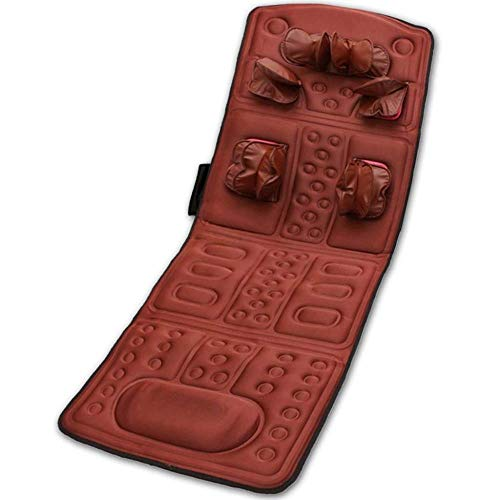Multi-Function Massage Mattress,withAirbag Kneading 25 Magnets, Heat and Vibration Function,for Home, Office and Car Use,Red -