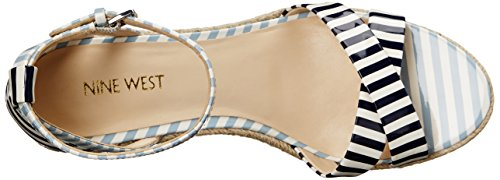 Nine West Joker synthétique Wedge Sandal White/Navy/White/Light Blue