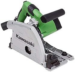 Kawasaki 603010365 Tauchsäge, Handkreissäge 1200 Watt Leistung, inkl. 4 Führungsschienen, Anti-Kickback, Spindelarretierung, Staubsaugeradapter, 5.000 Umdrehungen pro Minute, W, 230 V, grü, schwarz