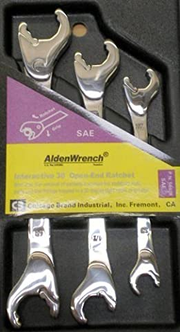 Alden Wrench 56038 Double Head Ratching Open-End Wrench, 3 Piece Set, SAE by Alden Wrenches