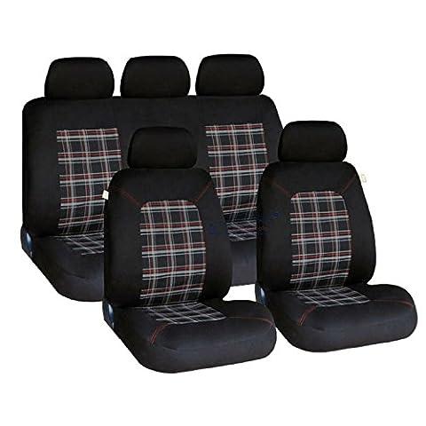 XtremeAuto - Red Lambeth, Tartan/Plaid Checked Pattern Seat