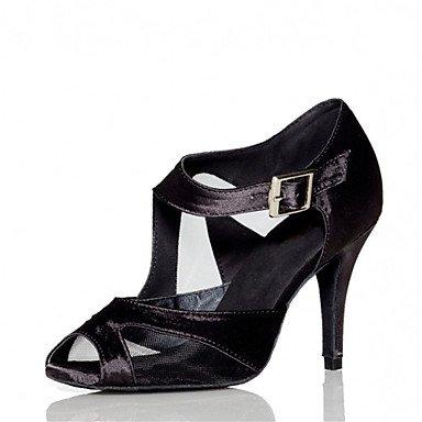 Silence @ pour femme Chaussures de danse latine/Jazz/Chaussures de swing/Salsa/Samba satiné Talon Noir/rouge Red