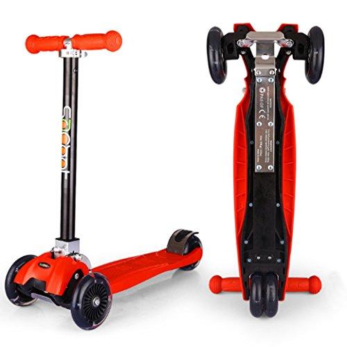Yuewo 7style scooters luge big-roller monopattino a tre ruote fold-able design led light-up wheels con maniglie ad altezza regolabile, leggero per facile trasporto per bambini