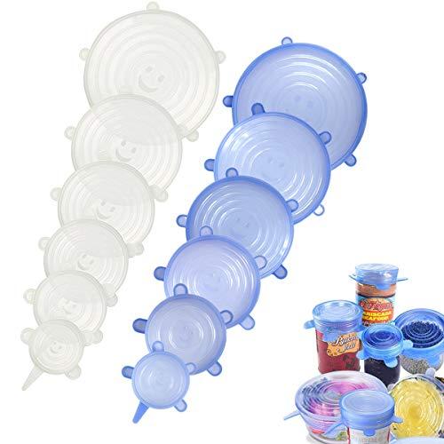 Silikon Stretch Deckel, 12 Packungen Größe Flexibel, Wiederverwendbar Haltbar Lebensmittel Sparen Cover, Frischhaltedeckel, Food Storage Deckel Saver Stretch Covers (Blau + Transparent) Food Storage Box Cover