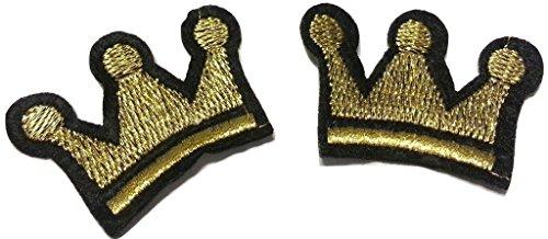 b2see Glitzer Aufnäher Iron on Patches für Jacken Jeans Kleidung Aufbügler Applikation Stickerei Set Krone Gold 2 STK jeweils 4,5 cm