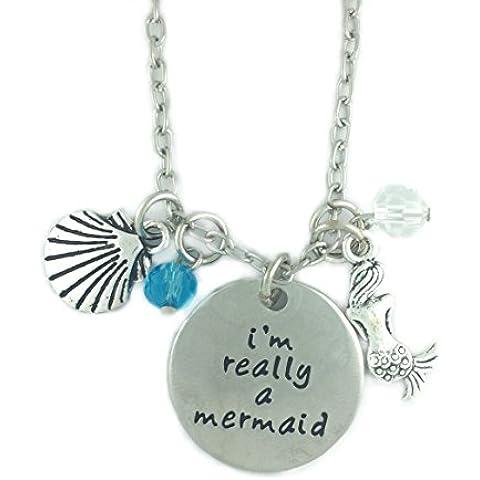 Realmente * UK * Plateada 'I' m un sirena del mar Shell Azul Cuentas Charms grabado collar con colgante THE LITTLE disfraz joyas