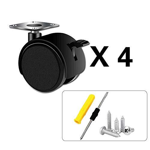 1/1,5/2 Zoll Nylon riemenbremse universal Rad couchtisch computertisch Caster Flat Wheel (4er Pack)