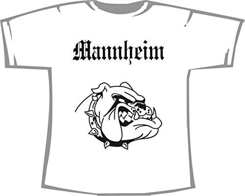 Mannheim (mit Bulldogge); Städte Kinder T-Shirt weiß, Gr. 7-8
