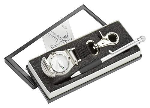Golf Geschenk Set mit Golf - Uhr und Golf Kugelschreiber