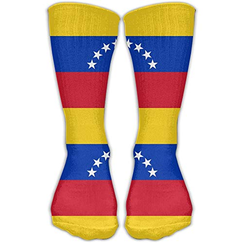 (Nicegift Venezuela Flag Knee High Socks For Mens Womens Adult Cotton Sports Long Socks For Yoga Hiking Cycling Running Soccer Sports 19.68 Inches)