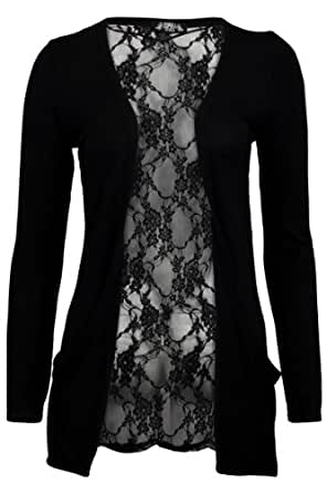 78S Womens Black Floral Lace Back Ladies Long Boyfriend Summer Cardigan Size 8/10
