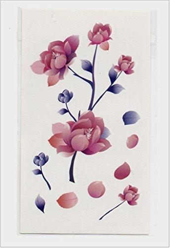 Gymnljy adesivi tatuaggio uomini e donne protezione ambientale impermeabile fiori colorati 3d tattoo tatuaggi temporanei donne falso tatuaggio adesivo (confezione da 20 fogli) , 10.5*6cm
