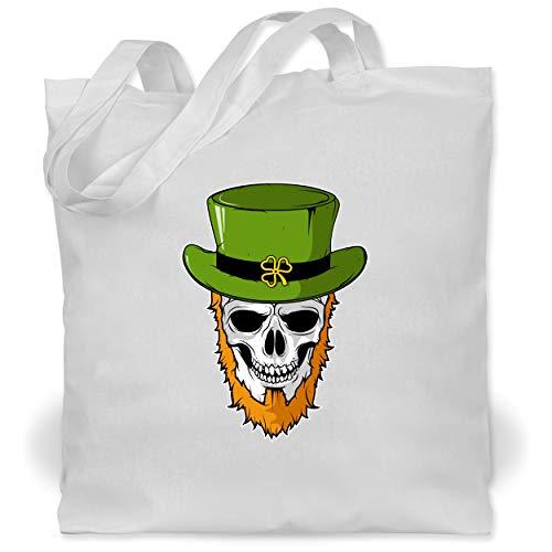 St. Patricks Day - St. Patricks Day - Totenkopf - Unisize - Weiß - WM101 - Stoffbeutel aus Baumwolle Jutebeutel lange - Patrick Pirat Für Erwachsene Kostüm