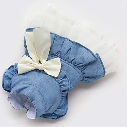 7°MR Speichern Sie Band-Schmetterlings-Dekorations-Hundekleiderblau-Prinzessin Dress For Dogs Skirt Puppy Clothes Supplies (Color : Blue, Size : L)