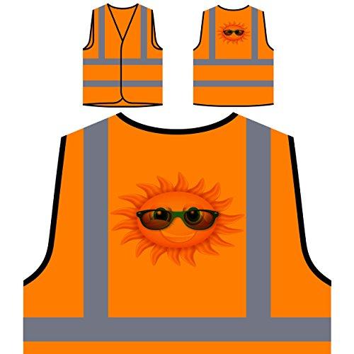 Sonne mit Sonnenbrille Personalisierte High Visibility Orange Sicherheitsjacke Weste m42vo