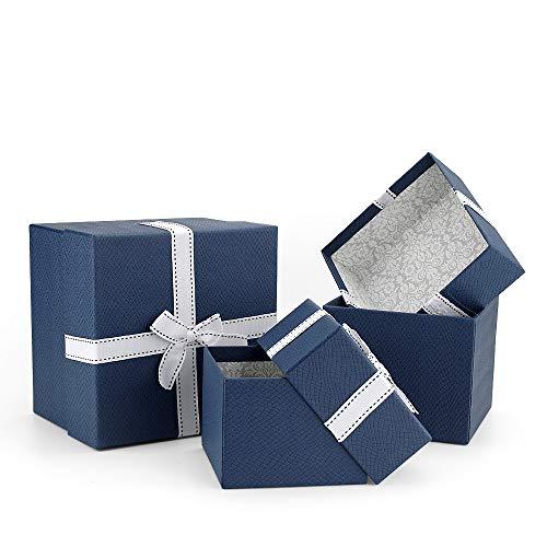 VEESUN Geschenkboxen 3 Set Verschiedene Größen, Luxus Präsentation Geschenkkarton mit Deckel, Dekorative Pappschachteln für Hochzeit Weihnachten Geburtstagsgeschenk Freund sie, Blau mit Band, MEHRWEG