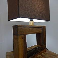 Lámpara madera de roble, con tulipa marrón hecho a mano y LED de bajo consumo.