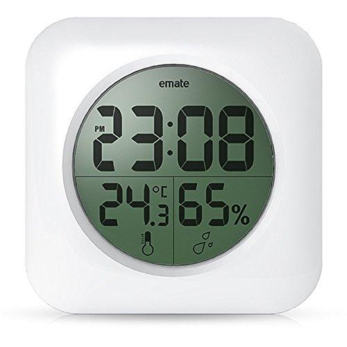 BOOMYOURS Badezimmer-Uhr mit digitalem Thermometer und Saugnapf, wasserdicht