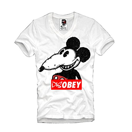 E1SYNDICATE V-NECK T-SHIRT DOPE DISOBEY MICKEY RAT WASTED YOUTH S/M/L/XL (Youth Wasted)