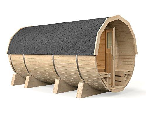 ISIDOR Holzbau Fasssauna 'Maja' von Isidor, Outdoorsauna mit 4,10 m in Schwarz mit Holzofen 'Troll'