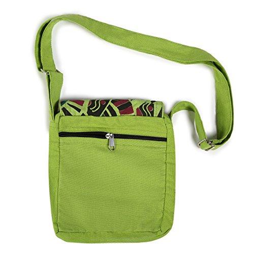 Kunst und Magie Alternative Damenhandtasche / Schultertasche Goa Psy 70er Retro Design Grün