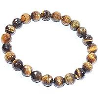 Bracelet - Bracelet Tiger Eye Diamond Cut 8 MM + 1 Point Pendant Birthstone Handmade Healing Power Crystal Beads preisvergleich bei billige-tabletten.eu