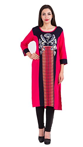 Fab Attire Women's Reyon Straight W-Floral Print Kurti Black and Pink  available at amazon for Rs.799