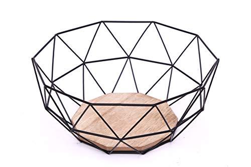 KONTARBOOR Corbeille à Fruits, Panier à Fruits Design Metal et Bois 26 X 26 X 12 cm