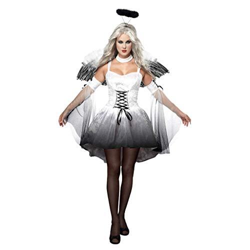 Für Kostüm Erwachsene Dark Zombie - RENYAFEI Halloween Kostüm Vampir-Brautklage Der Erwachsenen Frauen Devil Dark Angels Uniform Für Fasching Cosplay Erwachsene Größe,White,L