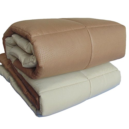Steppbett Steppdecke Bett Einzelbett Double Face Kastanie/Camel Tagesdecke gesteppt Mikrofaser 320gr/qm, Made in Italy (Camel Strampler)