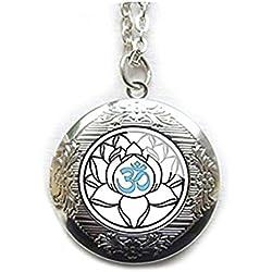 Blanco Camafeo De flor De loto Yoga joyería, Plata colgante sagrado Om de loto flores, camafeo, Boho Joyería India, Hinduismo, nenúfares Bodhi