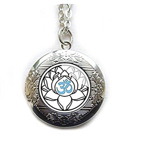 Weiß Lotus Flower Medaillon Yoga Schmuck, Silber Anhänger Sacred Lotus Om Blume, indischen Medaillon, Boho Schmuck, Hinduismus, Waterlily naturschaum Bodhi