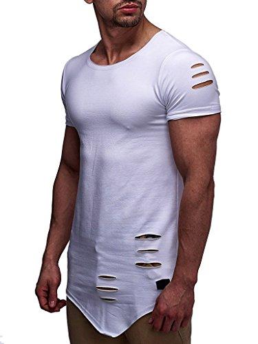 LEIF NELSON Herren Sommer T-Shirt Rundhals-Ausschnitt Slim Fit Baumwolle-Anteil | Moderner Männer T-Shirt Crew Neck Hoodie-Sweatshirt Kurzarm lang | 6261 Weiss X-Large -
