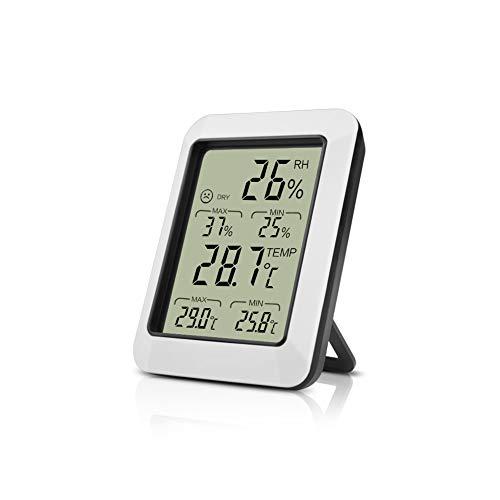Opard digital Thermo-Hygrometer Thermometer und Hygrometer innen Raumthermometer und Luftfeuchtigkeit Messgerät mit Min/Max Aufzeichnungen(weiß)