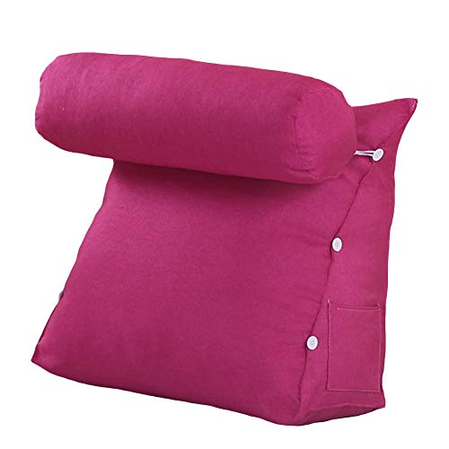 VERCART Kissen Rückenkissen Lesen Nackenrolle Hals für Sofa Bett Weiches Erwachsene Abnehmbar Rose Red 45x45x20cm -