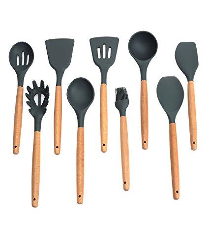 Fecihor 9 -Teilig Silikon Küchenhelfer Set, Hitzebeständig Küchenutensilien mit natürlichem harten Holzgriff, Non-Stick, BPA frei (Dunkel grau)