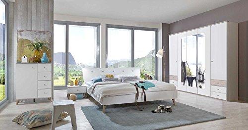 Schlafzimmer, Schlafzimmermöbel, Set komplett, Komplettset, Schlafzimmereinrichtung, Einrichtung, 3-teilig, alpinweiß, Eiche sägerau, Drehtürenschrank