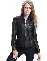 """BGSD Women's """"Julie"""" Cowhide Leather Motorcycle Jacket"""