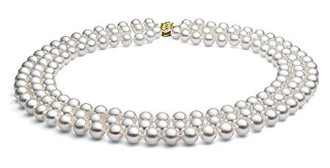 14K Or Blanc Triple Mèche–Collier Femme–Perle de culture d'eau douce de qualité AAA