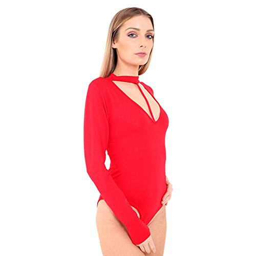 4d04db8e2f323 New Women s Ladies Long Sleeve Choker V Keyhole Neck With String Leotard  Bodysuit Top. UK 8-22