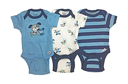 Gerber Baby Boy Onesies Bodysuits 3-Pack Blue Dogs Preemie -