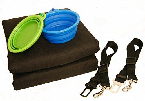 Dog Car Seat Cover Set, Waterproof, Non-Slip Hammock with Storage Pocket, 2 x Bowls, 2 x Pet Seat Belts, Adjustable… 4