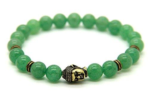 ARMBAND aus grünem Aventurin mit Buddha Kopf – Heilstein Meditation Yoga Spiritualität Esoterik Astrologie Liebe (Gold Claddagh-ring Mit Opal)