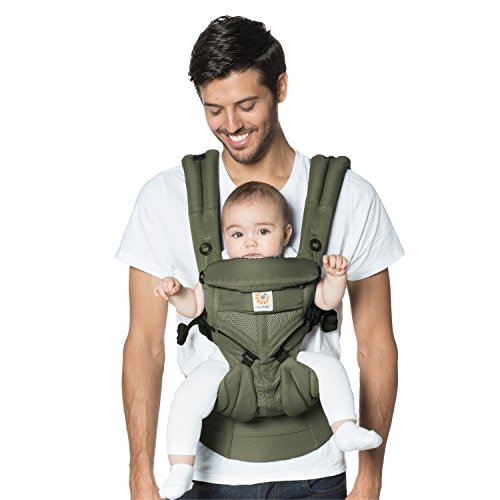 Ergobaby Baby Carrier for Newborn up to 3 Years, 360 Cool Air Khaki Green, 4 Ergonomic Carry Positions Front Back Front Facing, Backpack Carrier  Ergobaby