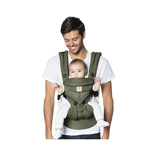 Ergobaby Baby Carrier for Newborn up to 3 Years, 360 Cool Air Khaki Green, 4 Ergonomic Carry Positions Front Back Front Facing, Backpack Carrier Ergobaby Ergonomic baby carrier for the summer, with 4 ergonomic carry positions: front-inward, back, hip, and front-outward. The carrier is suitable for babies and toddlers weighing 3.2 to 20 kg (7-45 lbs), and can be used as a backpack carrier. No infant insert needed NEW - The waistbelt with lumbar support can be worn a little higher or lower to support the lower back and provide optimal comfort, and has adjustable padded shoulder straps. The carrier is suitable for men and women. Maximum baby comfort - Breathable 3D air mesh material provides an optimal temperature for your baby on warm days. The structured bucket seat supports the correct frog-leg position for the baby. The carrier also has a neck support and privacy hood with 50+ UV sun protection. 7