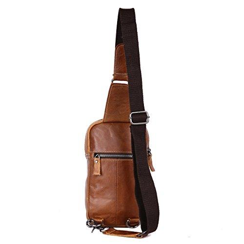 Leathario Herren Echtrindleder Brusttasche Brustbeutel Freizeittasche Crossbody Bag umhängetasche Braun