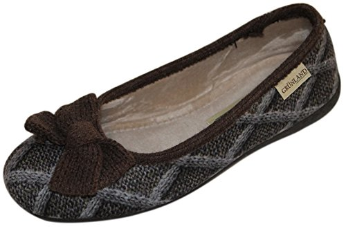 GRUNLAND , Chaussons pour femme 36 TAUPE -T.MORO
