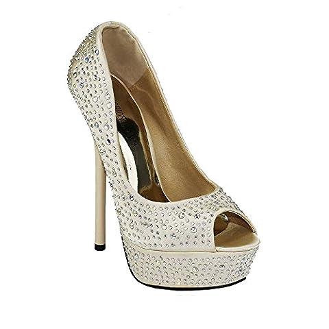 Chaussures plateforme Sandales talon haut femme Escarpins peep toes plateformes Parti de perles de mariage nouvelle taille 3 - 8