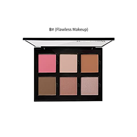 erthome 6 Color Professionl Makeup Eyeshadow Camouflage Facial Concealer Blush (B)