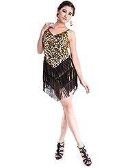 CoastaCloud Femme Sexy Robe de Danse Latine Rumba Danse Vintage Costume Cocktail Sexy Dress avec Frange à Bretelles